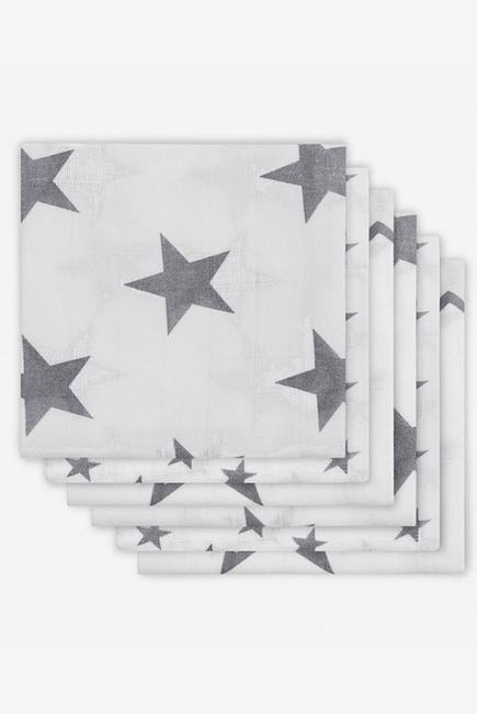 Муслиновые пеленки для новорожденных Jollein средние, Little Star Grey