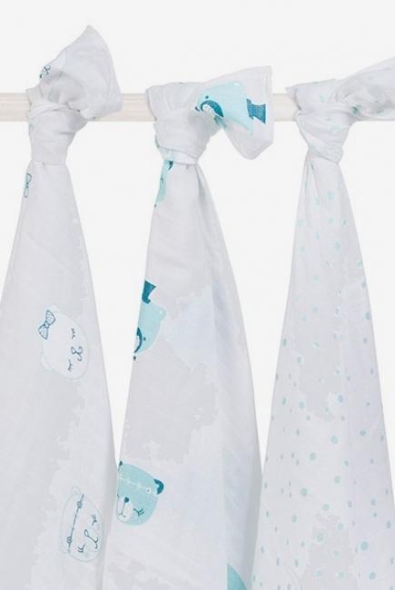 Муслиновые пеленки для новорожденных Jollein большие, Funny Bear Green