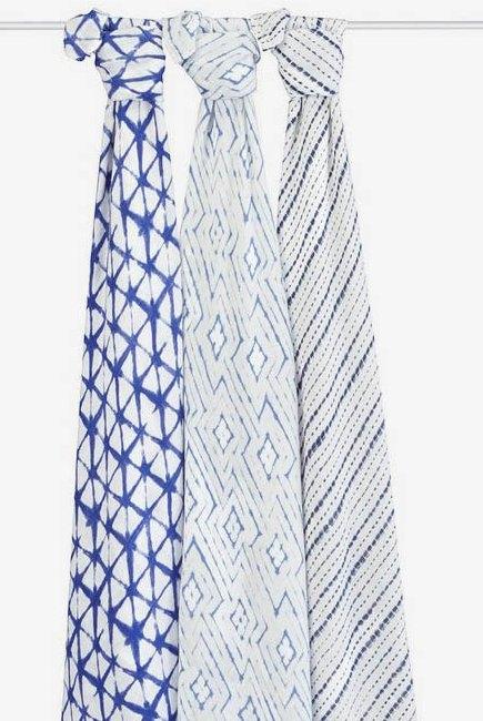 Бамбуковые пеленки для новорожденных Aden&Anais большие, набор 3, Indigo