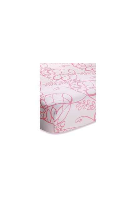 Aden&Anais простынка на матрас бамбуковая Tranquility Leafy (розовые листья)