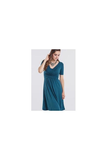 Платье для кормящих Wrap Dress короткий рукав, Dusky Tapestry Blue