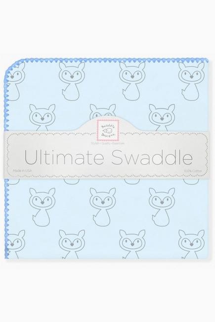 Фланелевая пеленка для новорожденного SwaddleDesigns Ultimate Gray Fox Blue