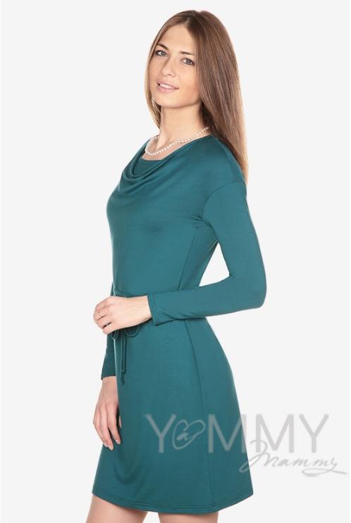 Платье из модала для кормящих и беременных с горловиной